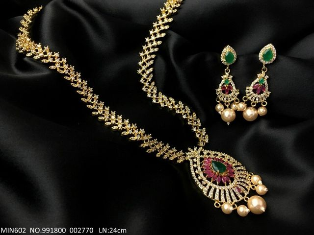 American Diamond Necklace set studded with precious American Diamond Stones