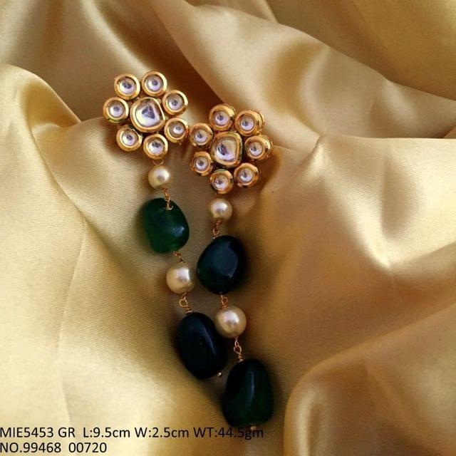 Kundan + Semi precious stone + Fresh Water pearl dangler
