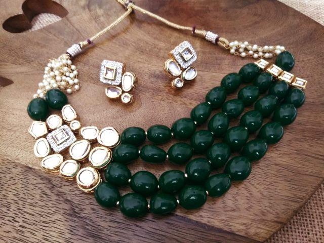 High Class kundan + Precious Beads Necklace set