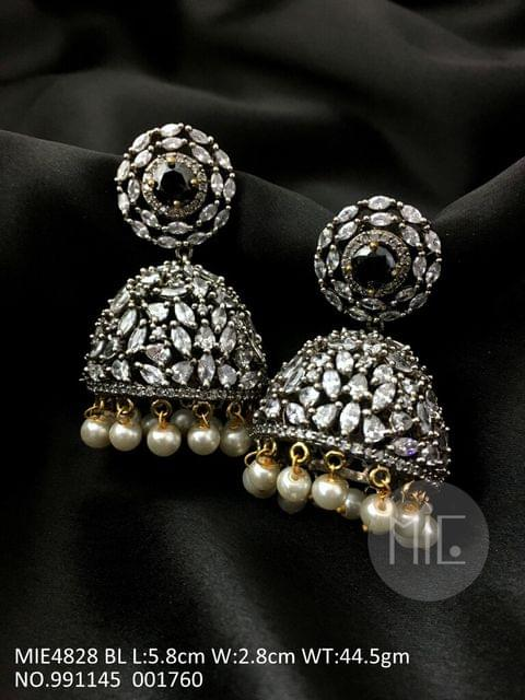 Brass Jhumki with American Diamond Stone and Victorian plating