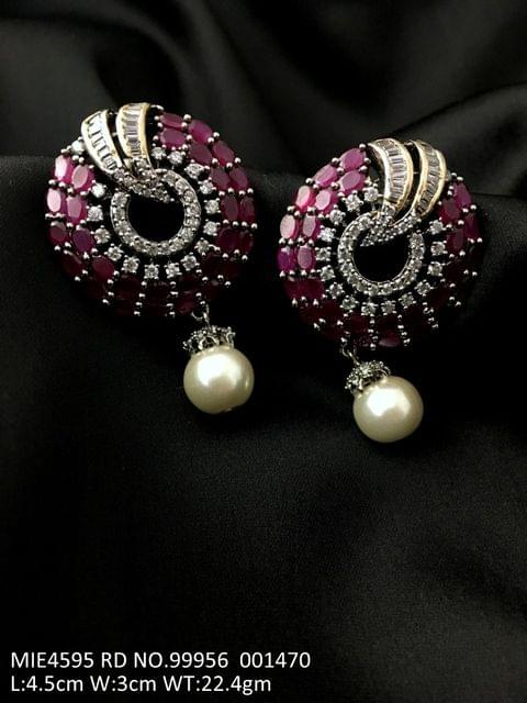 American Diamond + Pearl Earrings with an year warranty