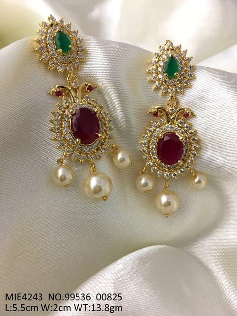 Gold plated earring with American Diamond Stone and Pearl