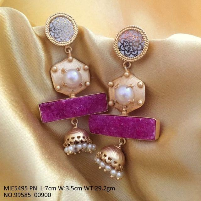 Brass + Semi precious Stone earrings with pearl