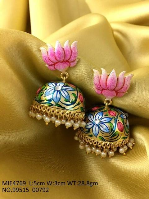 Gold Plated ,Hand painted Earrings with an year warranty