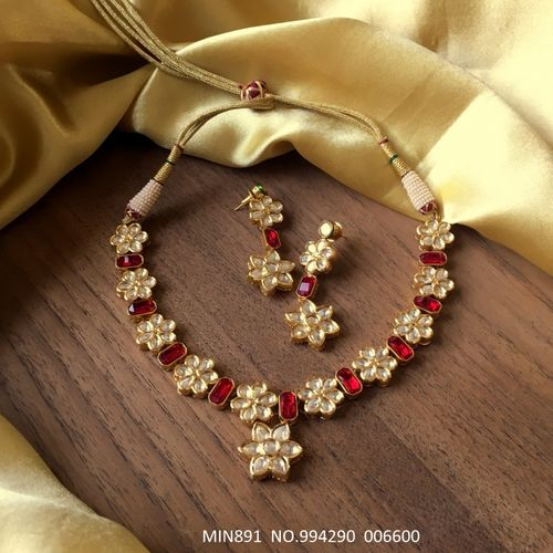 High quality necklace set studded with Kundan and Natural Stone. Base metal Brass