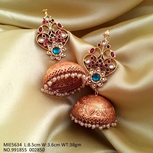 Brass Earring with precious stone and American Diamond Earring
