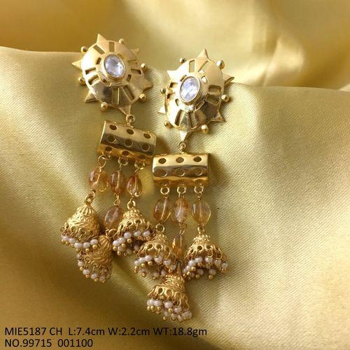 Brass Dangler with semi precious stone and American Diamond Stones