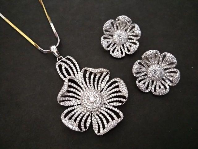 American Diamond Pendant Set with an year warranty