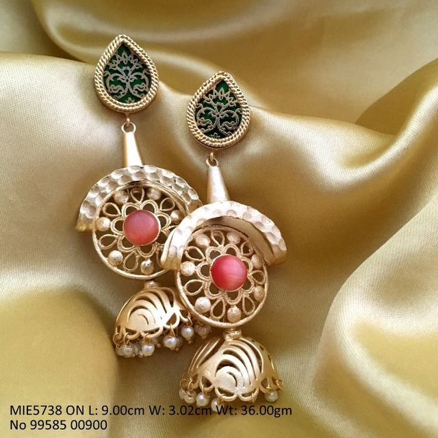 Brass earring,studded with monalisa stone-1 year warranty