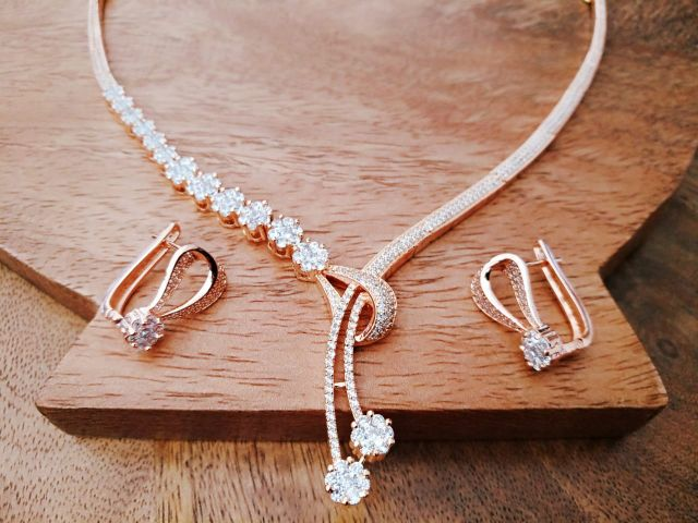 Beautiful American Diamond Necklace Set with an warranty
