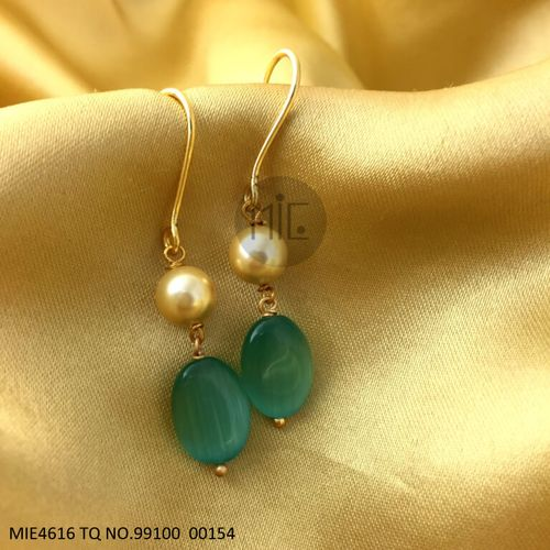 Pearl and Beads earring, Metal: Brass Plating- Golden with warranty