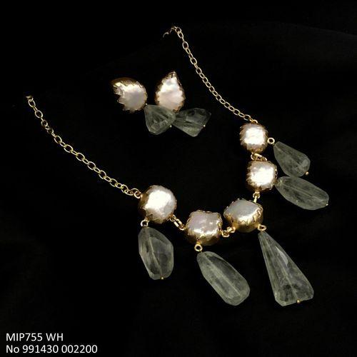 Metal: Brass Stone: Baroque pearl & Agate