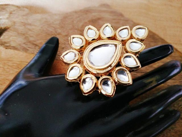 Kundan Finger ring with an year warranty