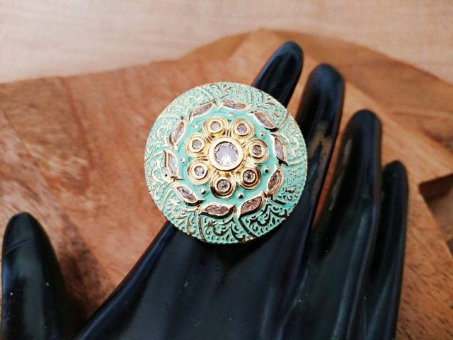 Brass Finger Ring studded with Kundan Stone with an year warranty