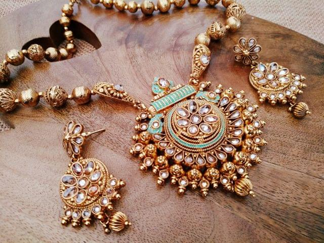 Gold plated Necklace studded with Kundan and Semi Precious Stones- 1-year warranty