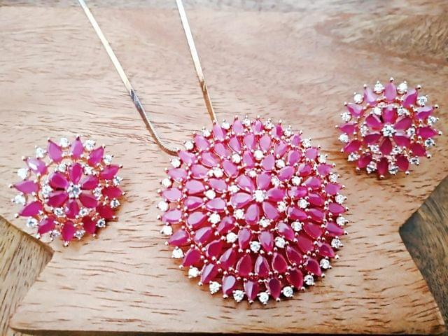 Ruby coloured American Diamond Pendant Set with an year warranty