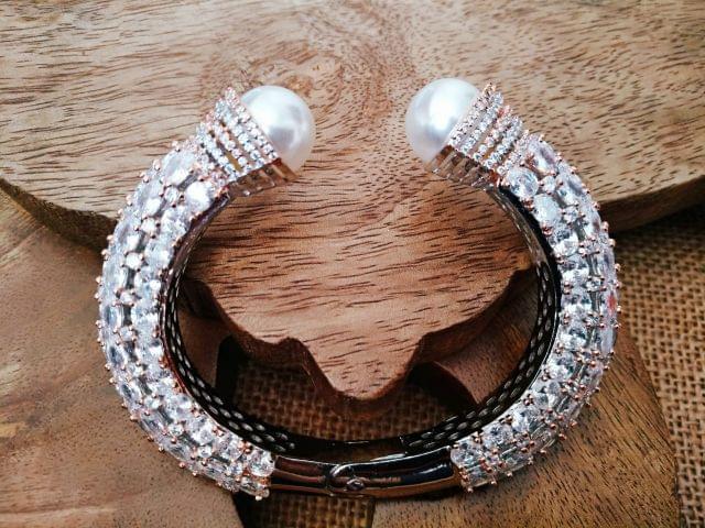 American Diamond Kada  studded with pearl. 1 year warranty