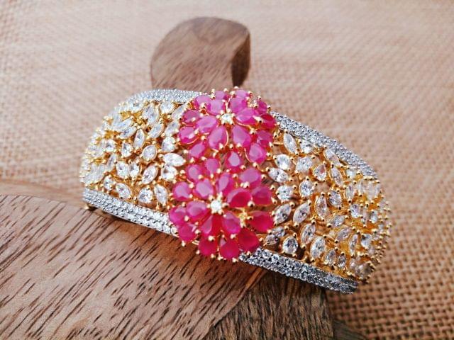 Multi-Coloured American Diamond Kada  . 1 year warranty