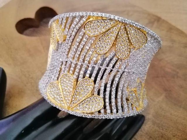 Gold plated American Diamond Kada with an year warranty