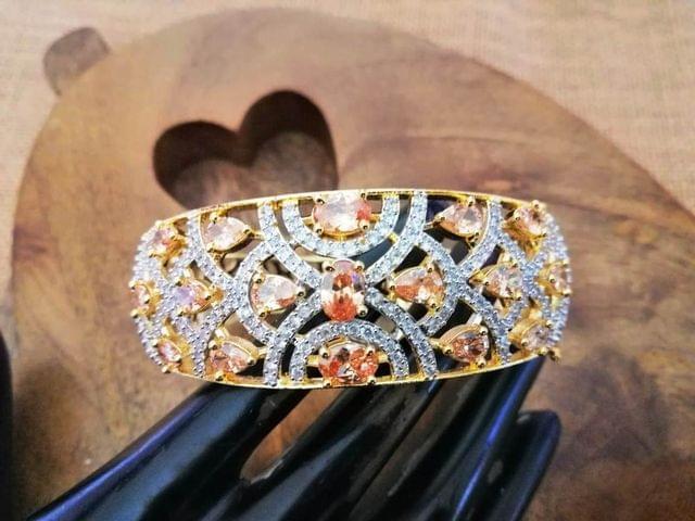 Silver plated American Diamond Kada with an year warranty