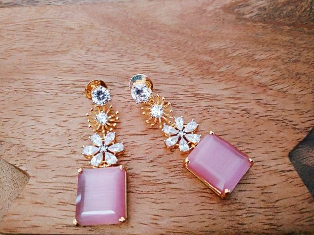 American Diamond Dangler with a year warranty-Pink Coloured