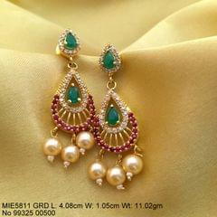 Gold plated brass earring studded with American diamond stones and contains pearls