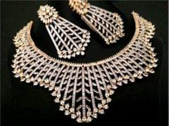 High Class American Diamond Necklace set with an year warranty