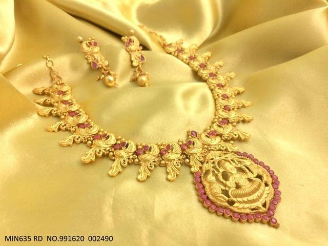 Goddess Laxmi Necklace set -Gold plated-studded with American Diamond Stones