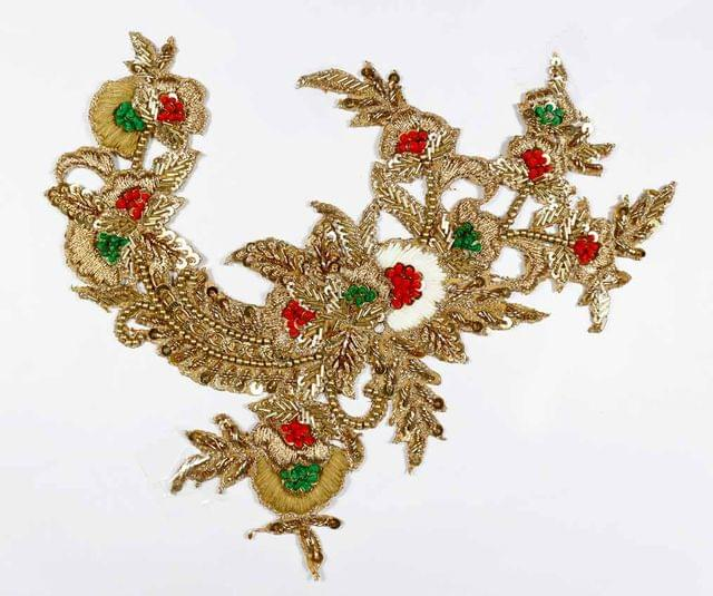 Merry and festive seasonal celebrating grand and imperial look heavenly zardosi work with thread, sequence and other assortment of ornamentation magnificent and absolute refined Patch