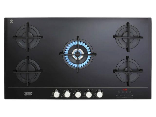90cm Gas on Glass Cooktop Centre Wok Black