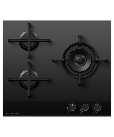 60cm 3 Burner Gas on Glass Cooktop w/ Wok LPG - Black