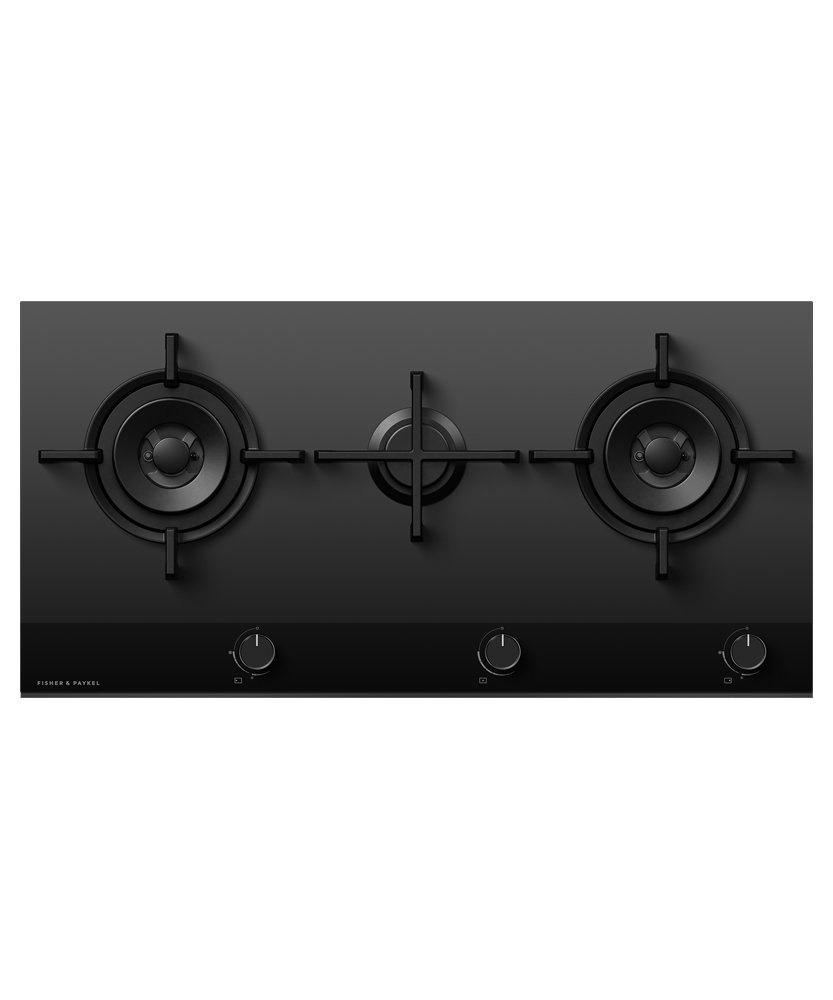 90cm 3 Burner Gas on Glass Cooktop NG - Black