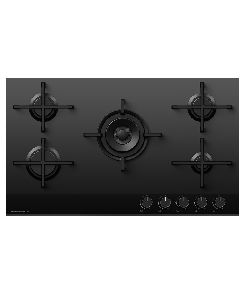 90cm Gas on Glass 5 Burner Cooktop w/ Wok - NAT GAS
