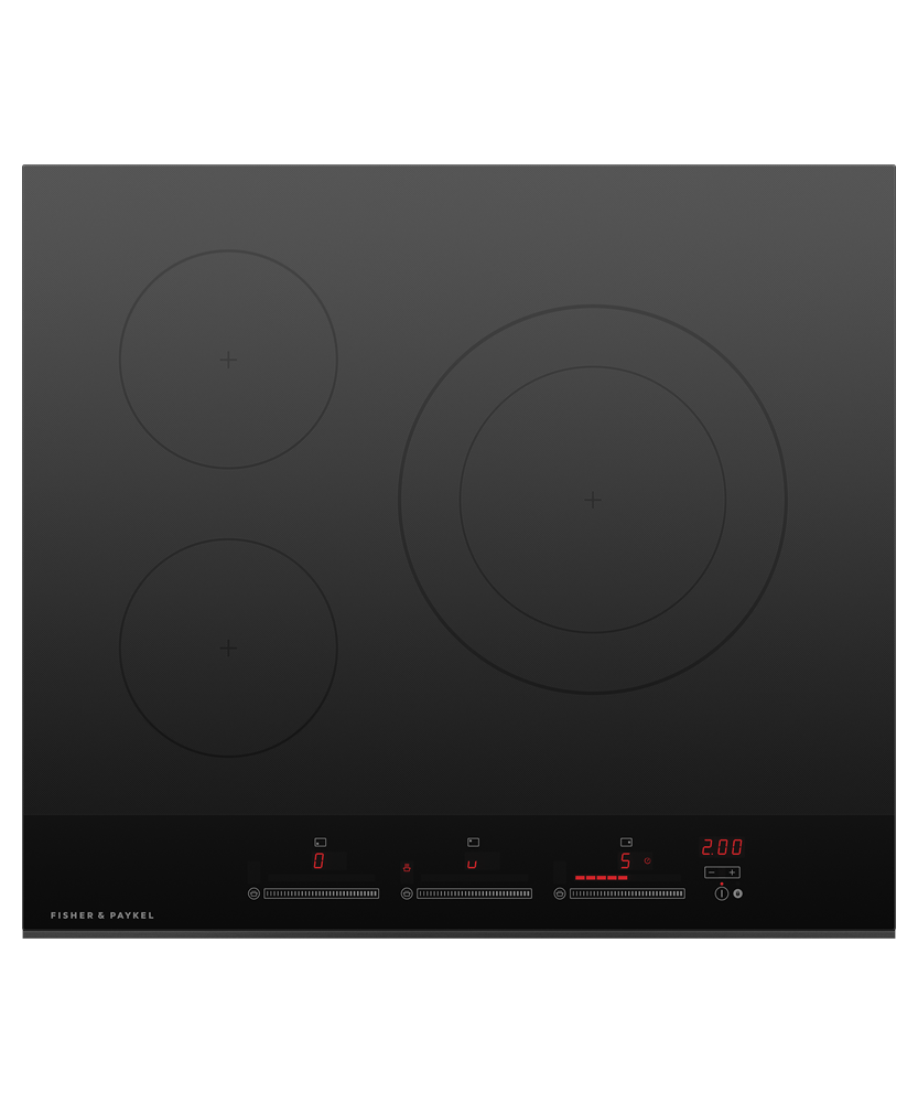 60cm Induction Cooktop w/ 3 Cooking Zones - Black