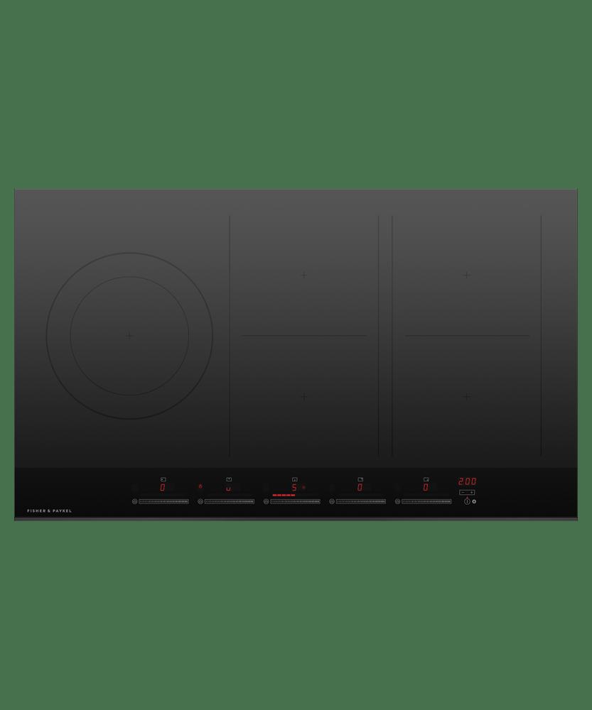 90cm Induction Cooktop w/ 5 Cooking Zones - Black