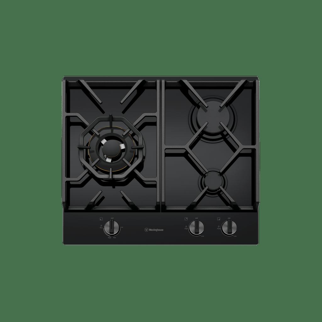 60cm 3 Burner Black Glass Gas Cooktop