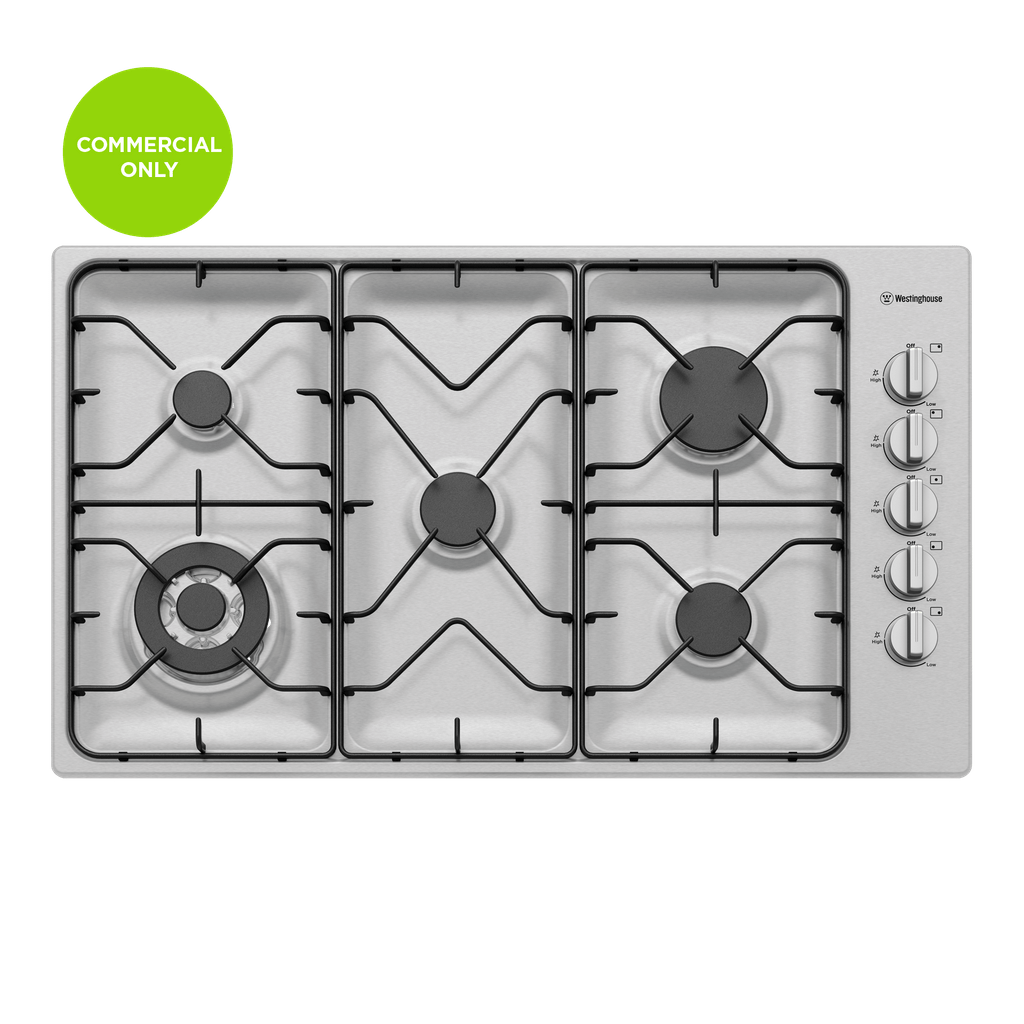 90cm 5 Burner Gas Cooktop Including Wok Burner F/F