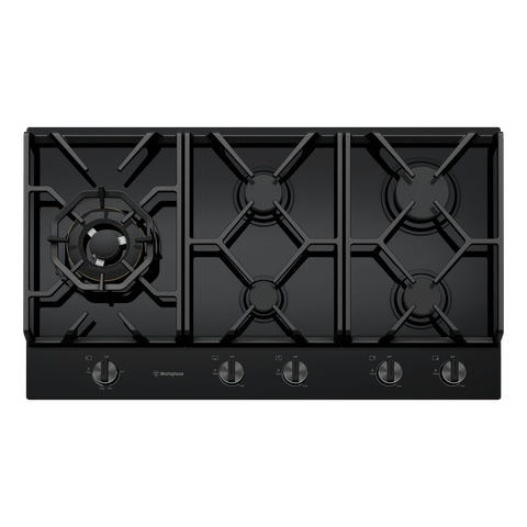 90cm 5 Burner Black Glass Gas Cooktop w Wok Burner
