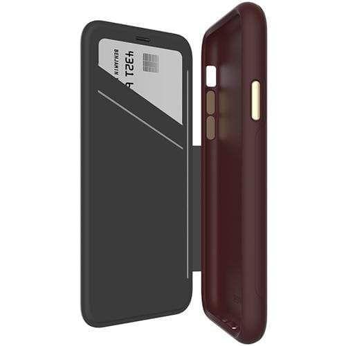 EFM Monaco D30 Leather Wallet Case - iPhone XR - Mulberry
