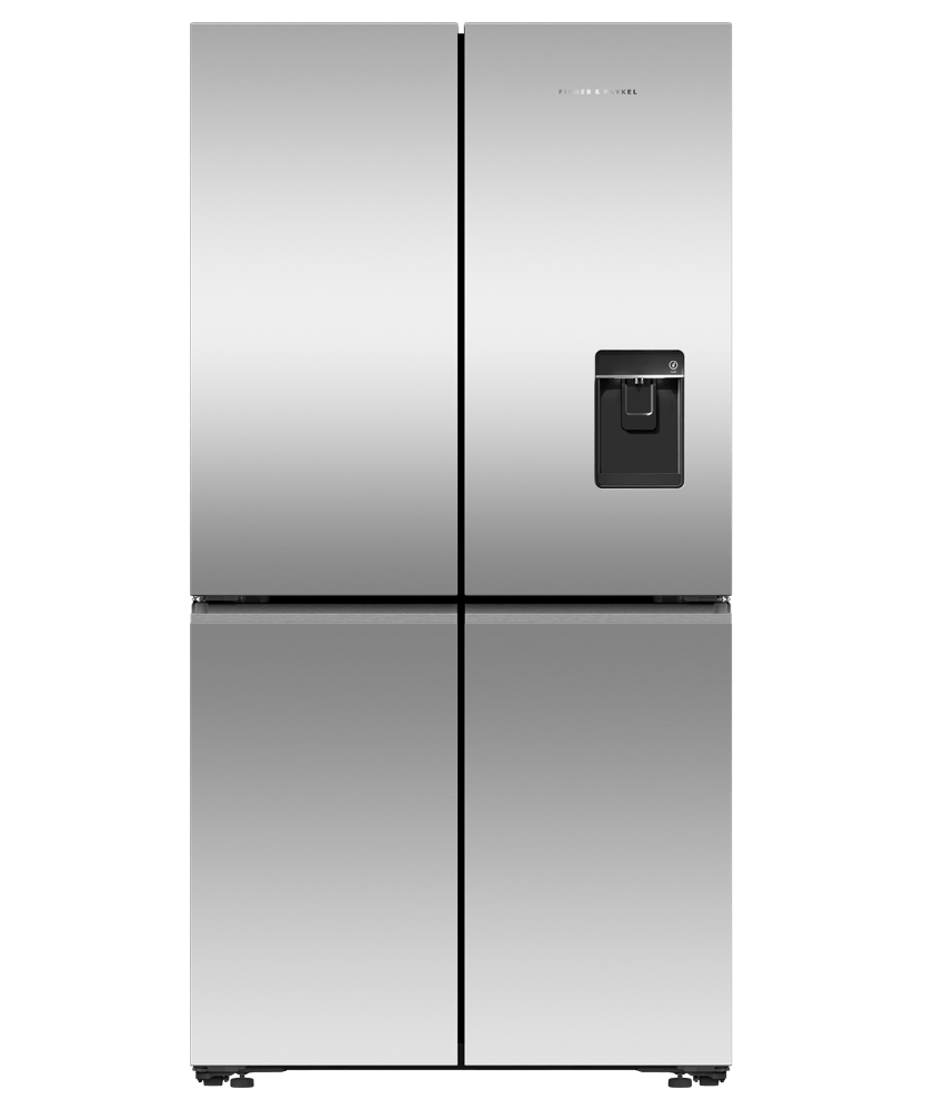 605L French 4 Door Fridge w/ Ice & Water - Black