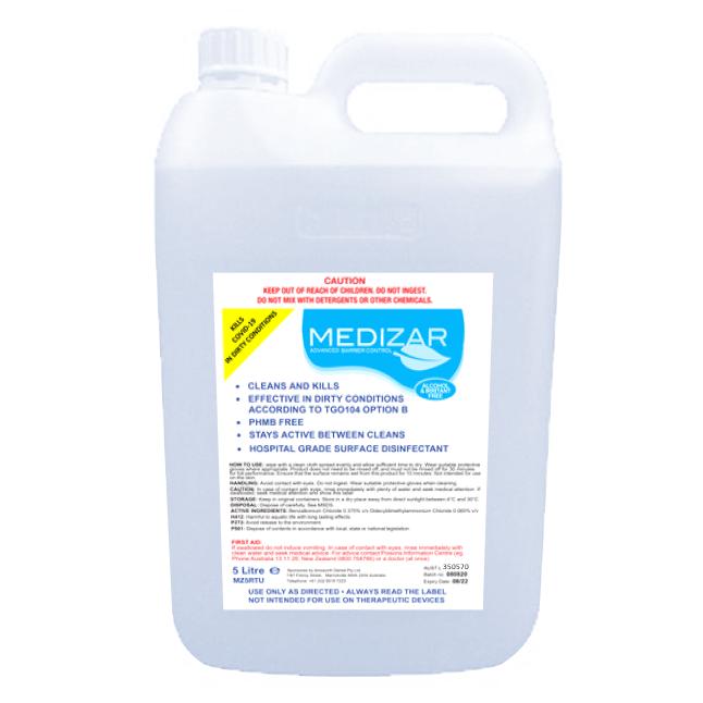Medizar Hospital Grade surface disinfectant 5 litres carton of 4