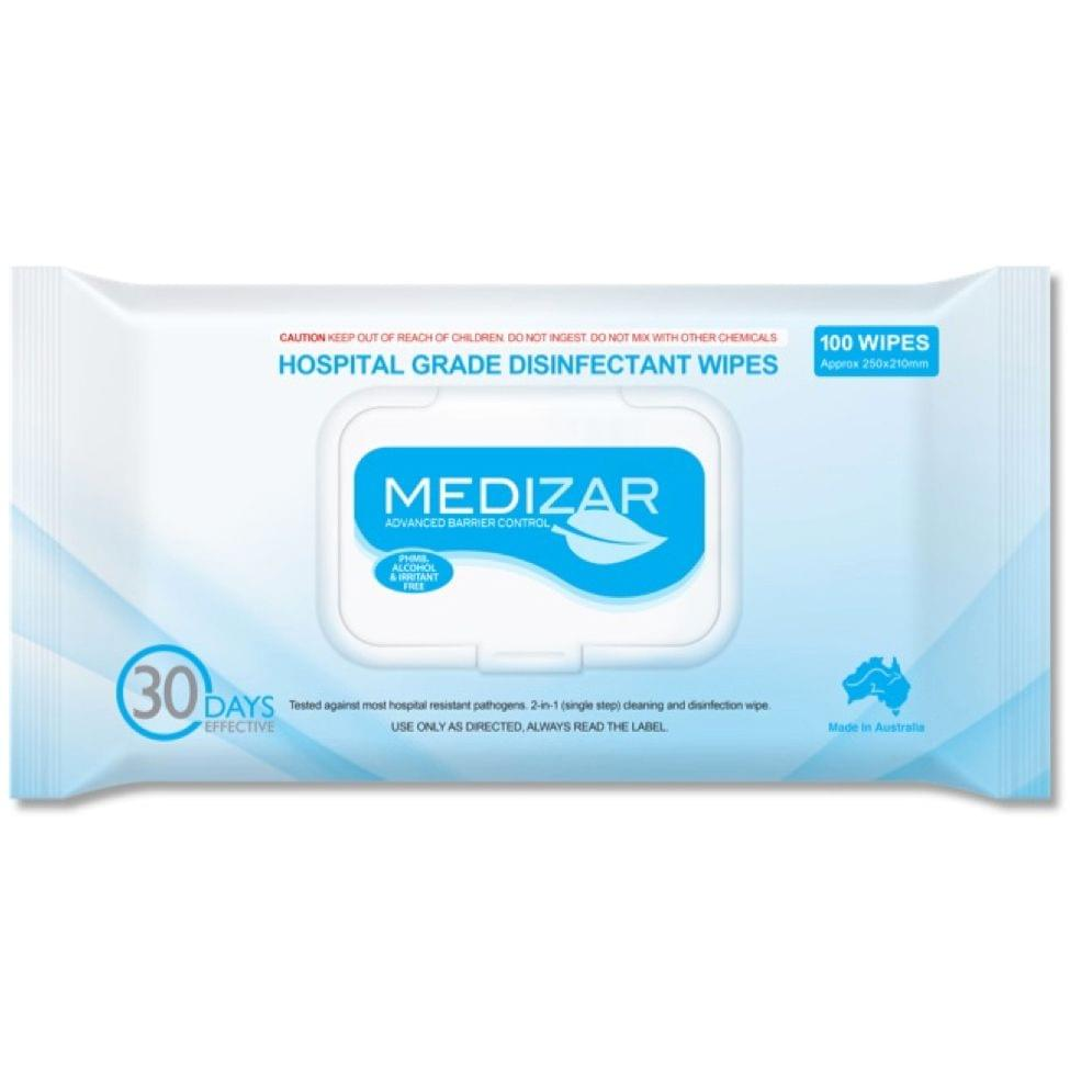 Medizar Hospital Grade surface disinfectant wipes pack of 100 carton of 12