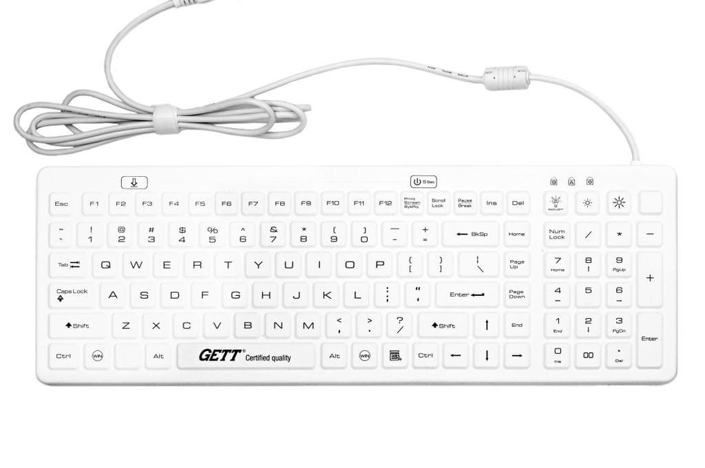GETT Silicon Medical Keyboard - Backlit, EN Certified (White)