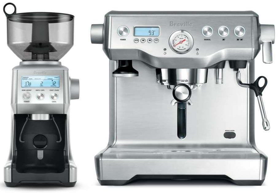 BREVILLE The Dynamic Duo: Dual Boiler Coffee Machine and Smart Grinder Pro - Chrome