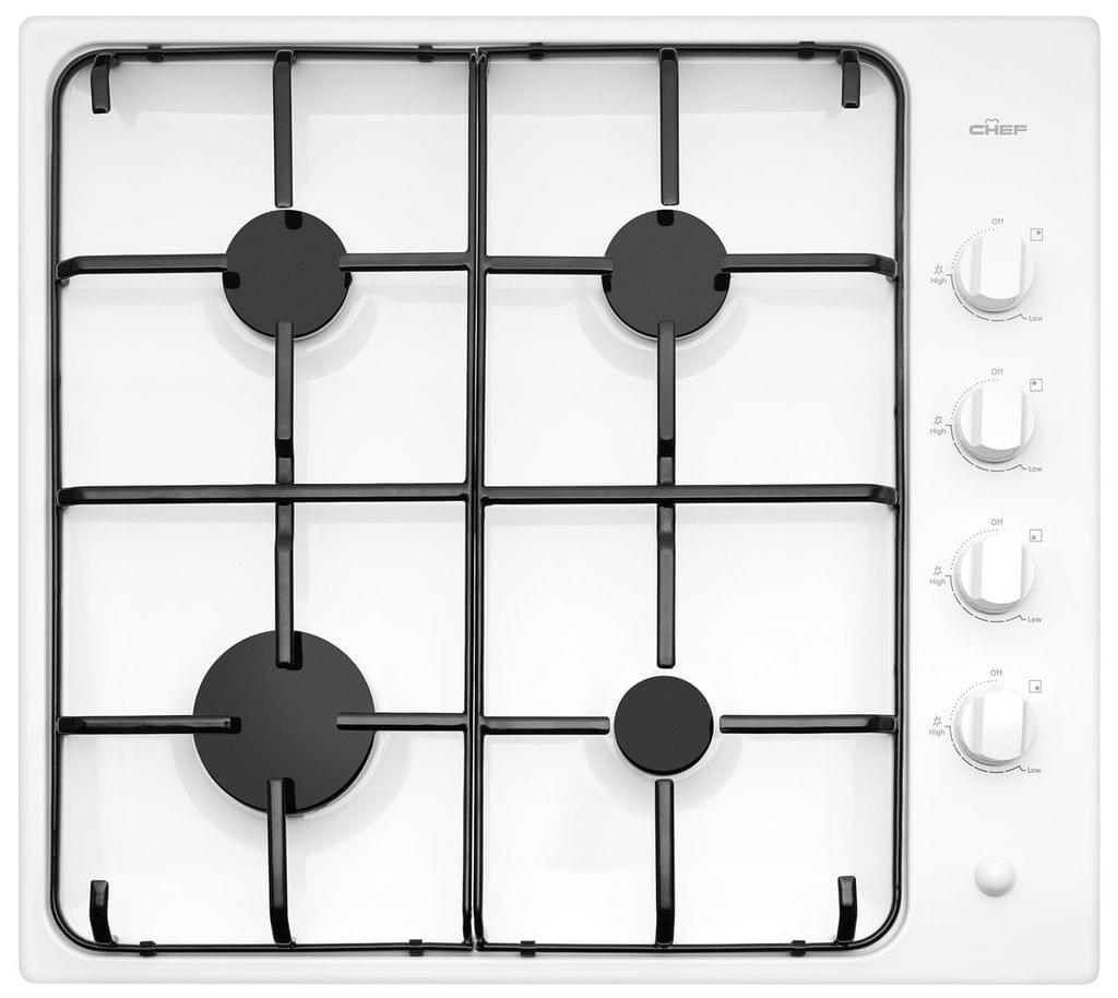 CHEF 60cm Gas Cooktop Enamel Trivets F/F White