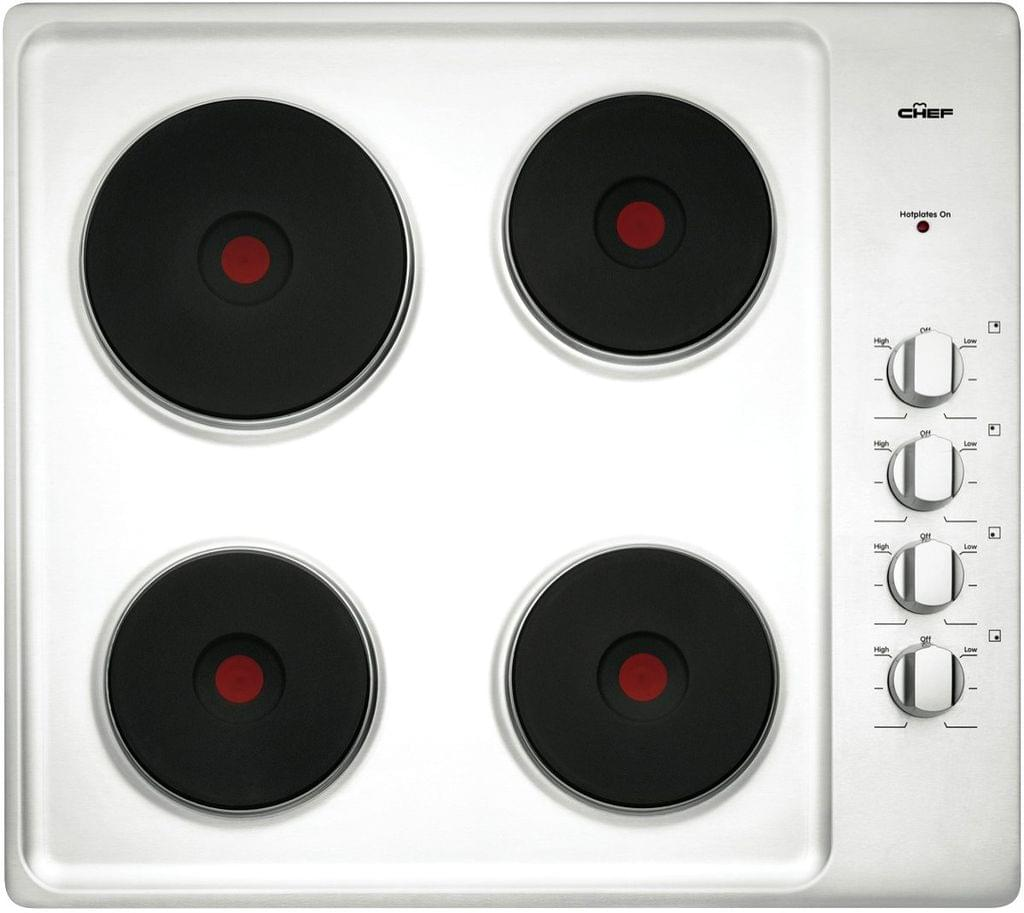 CHEF 60cm Electric Solid Element Cooktop - Stainless steel