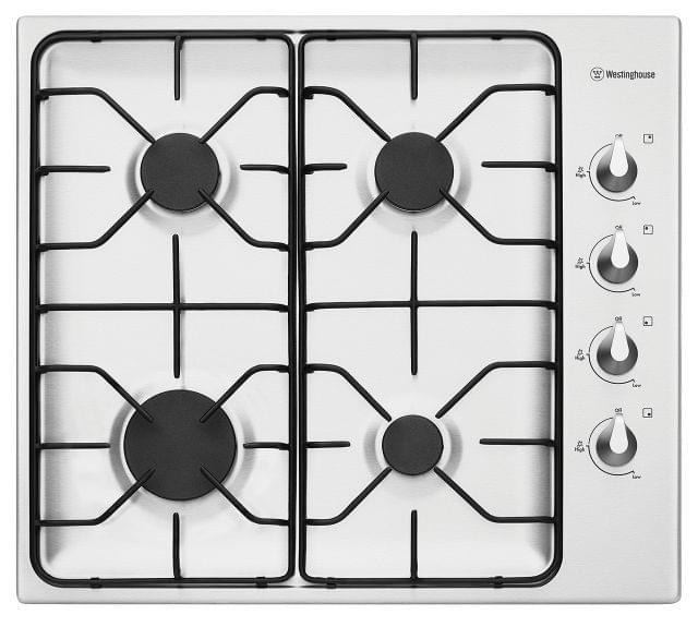 WESTINGHOUSE 60cm 4  Burner Gas Cooktop Enamel Trivets F/F (WHG640SB)