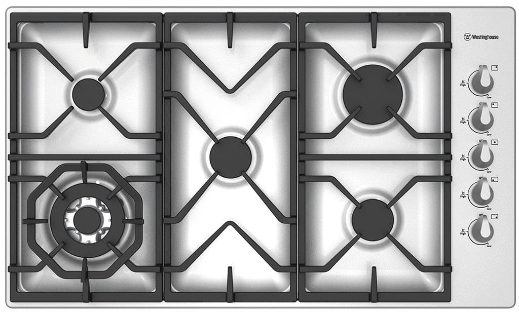 WESTINGHOUSE 90cm 5 Burner Gas Cooktop C.I. Trivets Side Control (WHG955SA)