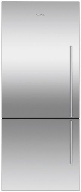 F&P 442 Litre Bottom Mount Refrigerator - Visible Handl (RF442BLGX6)