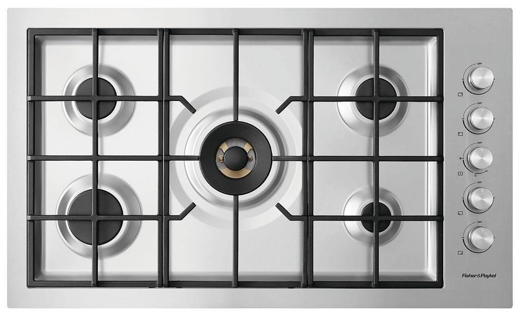F&P 90cm 5 Burner Gas Cooktop Wok LPG FF (CG905DWLPFCX3)